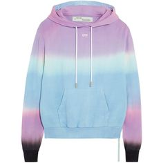 Off-White Tie-dye cotton-jersey hooded top ($375) ❤ liked on Polyvore featuring tops, hoodies, lilac, colorful tops, slouchy tops, off white tops, hooded top and tie die tops