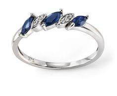 9ct White Elements Gold Blue Sapphire and Diamond Marquise Ring