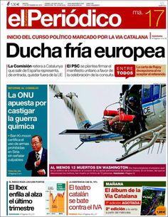 Los Titulares y Portadas de Noticias Destacadas Españolas del 17 de Septiembre de 2013 del Diario El Periódico ¿Que le pareció esta Portada de este Diario Español?