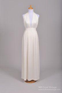 1970s Halston Style Vintage Wedding Dress