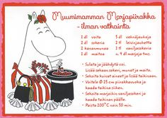 4760519 1-os Muumi reseptikortti Tove Jansson, Finnish Recipes, Baking With Kids, Sweet Pie, No Bake Desserts, Finland, Food To Make, Easy Meals, Food Porn