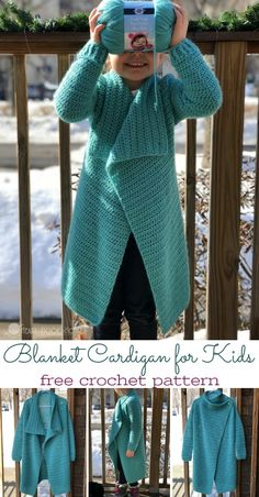 Have a child wearing 4/5T? This child size Blanket Cardigan is perfect for them! Use this free crochet pattern - from 18 months to adult size - for the entire family to match! via @ashlea729