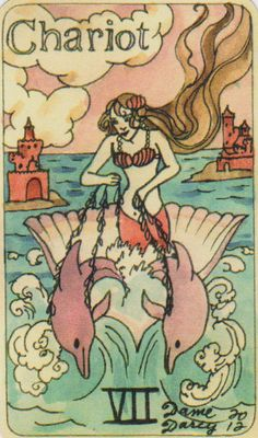 Dame Darcy Mermaid Tarot - The Chariot. Major Arcana. Tarot cards. divination. fortune telling. oracle. Get her beautiful deck at her DameDarcy shop on Etsy!