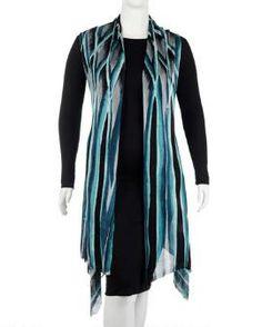Women's Plus Size Watercolor Print Knit Vest