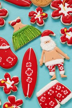 Mele Kalikimaka cookies are fun to make. These sugar cookies decorated with royal icing bring the joy of Chrismtas and summer fun together in one cookie.