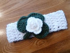 Baby girl  headband white band with emerald by QUINNYSCROCHET, $10.00