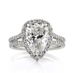 4.66ct Pear Shape Diamond Engagement Ring