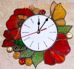 """Витражные часики """"Цветочная симфония"""" - маки,красные маки,часы,авторские часы"""