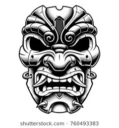 Vector illustration with old japanese mask of demon. With halftone texture. Isolated on white background. Kunst Tattoos, Body Art Tattoos, Tribal Tattoos, Sleeve Tattoos, Samurai Maske Tattoo, Hannya Maske Tattoo, Japanese Warrior Tattoo, Japanese Mask Tattoo, Tiki Tattoo