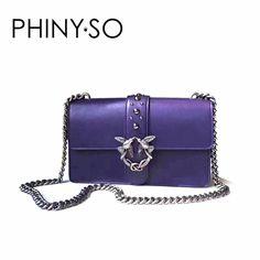 Good Deal $89.99, Buy Fashion designer Flap Lady brand women shoulder bag Chains Swallow lock Messenger Bags genuine leather handbag original quality