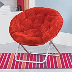 Mainstays Faux-Fur Saucer Chair | Dimensions: 30″L x 28″W x 29″H (Red Engine)