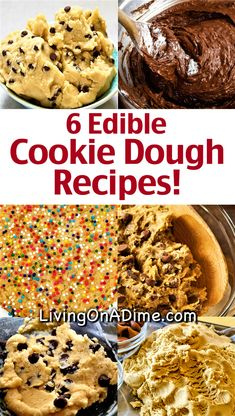 Here are 6 edible cookie dough recipes that are safe to eat because they are eggless cookie dough recipes! Whether you prefer chocolate chip cookie dough, peanut butter, Nutella or something else, you& sure to love these cookie dough recipes! Edible Sugar Cookie Dough, Cookie Dough For One, Edible Cookies, Cookie Dough Recipes, Chocolate Chip Cookie Dough, Cookie Dough Dip, Edible Cookie Dough Recipe For One, Eggless Cookie Recipes, Peanut Butter Cookies Eggless