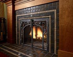 Pewabic Tile Fireplace Detail // proper cozy FP with beautiful tile, iron details, woodwork, arts and crafts Craftsman Fireplace, Home Fireplace, Fireplace Mantels, Fireplaces, Mantles, Fireplace Ideas, Fireplace Pictures, Mantel Ideas, Fireplace Tile Surround
