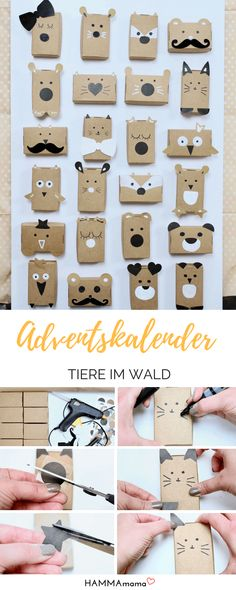 Look, animals in the forest! ° Make a simple Advent Calendar for children – christmas crackers Diy Advent Calendar, Kids Calendar, Advent Calendars, Diy Gifts For Friends, Gifts For Family, Christmas Gift Wrapping, Christmas Crafts, Xmas, Christmas Animals