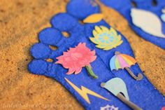 Playing with small Vaishnava: DIY Krishna's lotus feet with symbols - great for toddlers