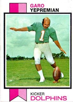 "Garo Yepremian:  After his 1967 season, he left football to enlist in the U.S. Army.  When he returned to Detroit, the Lions chose not to re-sign him.  In 1970, he earned a spot with the Miami Dolphins, and was a key member of the 1972 Dolphins' ""Perfect Season"" team (he was the leading scorer).  He appeared in three Super Bowls (VI, VII, and VIII).  Led the league in f.g. accuracy three times."