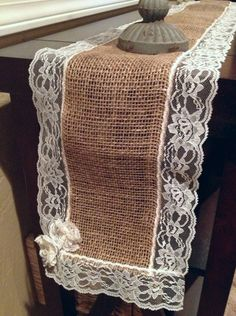 Burlap and Lace Table Runner by CharminglyCrafted on Etsy