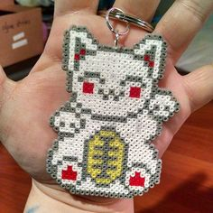 Lucky cat perler beads by mini_minako