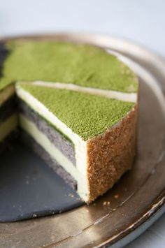 Us - Matcha Goma Mousse Cake (Green Tea-Black Sesame Mousse Cake) For a special anniversary, a Japanese inspired dessert.For a special anniversary, a Japanese inspired dessert. Asian Desserts, Just Desserts, Dessert Recipes, Japanese Desserts, Gourmet Desserts, Plated Desserts, Cake Recipes, Matcha Cake, Matcha Mousse Cake Recipe