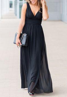 Robe maxi longue drapé dos nu mousseline col V plongeant élégant de soirée noir