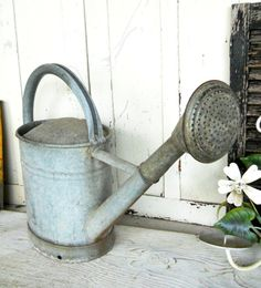 Vintage Rare Spigot Rose English French Country Farmhouse Zinc Tin Or Aluminum Metal Garden Flower Watering Can Primitive