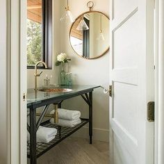 Cottage Washstand with Copper Sink and mirror on adjacent wall