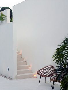 candles on the stairs. (image by Richard Powers)