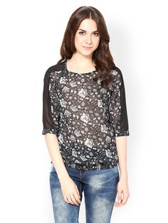 Buy Harpa Women Black Printed Top - 310 - Apparel for Women from Harpa at Rs. 499