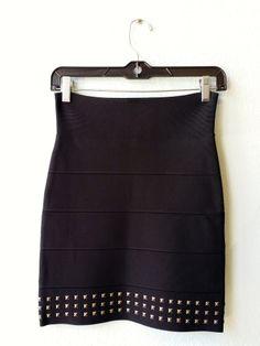 BCBG black knit studded skirt S #bcbg #black #size-s #skirt #studded #studs