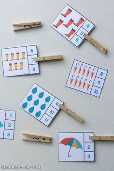 Over 25 sets of themed count and clip cards… great for preschool and kindergarten math centers! Over 25 sets of themed count and clip cards… great for preschool and kindergarten math centers! Weather Activities For Kids, Preschool Weather, Counting Activities, Spring Activities, Preschool Learning, Preschool Activities, Preschool Centers, Science Classroom, Weather Crafts