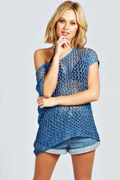"Boohoo Evie Crochet Tunic Jumper Dress - blue - ""on Vein - getvein.com"" Crochet Tunic, Jumper Dress, Evie, Jumpers, My Wardrobe, Boohoo, Blue Dresses, Tankini, Cardigans"