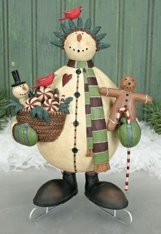 Snowman on Skates with Gingerbread Man Holding a Basket Figurine Snowman On Skates With Gingerbread Man Holding A Basket Figurine – Christmas Folk Art & Holiday Collectibles – Williraye Studio [WW2912] - $40.00 : The Official Williraye Studio Store, Folk Art Collectibles and Figurines