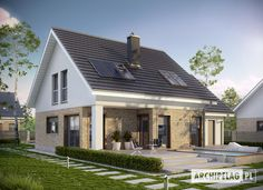 Eco house means creating a more efficient home in terms of insulation, lighting, electricity. Simple House Design, House Roof, Design Case, Pool Houses, Bungalow, House Plans, Real Estate, Mansions, House Styles