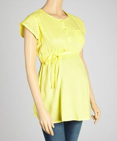 This Lemon Eyelet Tie-Waist Maternity Henley by Oh! Mamma is perfect! #zulilyfinds