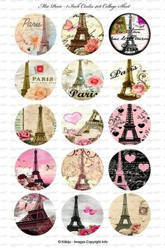 """Collage of pretty Eiffel tower illustrations in circles고카지노MEAT5.COM I really love Eiffel tower. :) And someday I wanna go to France And take pictures with the Eiffel tower :""""> Paris Party, Paris Theme, Tour Eiffel, Thema Paris, Image Paris, Etiquette Vintage, Image Digital, Bottle Cap Crafts, Bottle Caps"""