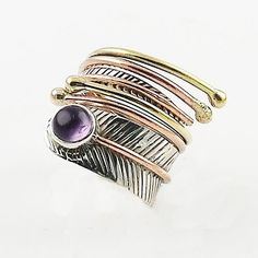 Amethyst Cabochon Three Tone Sterling Silver Adjustable Wrap Ring