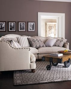 "Shop ""Keytone"" Linen Sectional from Haute House at Horchow, where you'll find new lower shipping on hundreds of home furnishings and gifts. My Living Room, Home And Living, Living Room Decor, Living Spaces, Linen Couch, My New Room, Style At Home, Home Furnishings, Home Furniture"