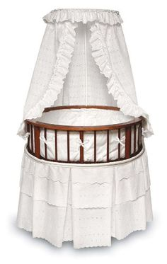 Gift - Cherry Elegance Round Bassinet With White Eyelet Bedding, 32x32x49 (Inches)