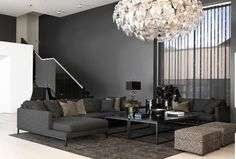 Dark Grey Walls Living Room, Interior Inspiration, Living Room Designs, Family Room, Beautiful Pictures, Chandelier, Ceiling Lights, Home Decor, Massage