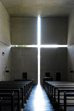 A cut-out cross illuminates this small church in Ibaraki, Japan. The client insisted on using glass in the cross, over the objections of architect Tadao Ando. It was built in 1989, and 20 years later Mr. Ando said, 'One day I will remove that glass...an architect must never, never, never give up!'