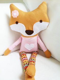 Items similar to Fox Sewing Pattern Fox Doll PDF Softie Toy Pattern on Etsy Sewing For Kids, Baby Sewing, Diy For Kids, Fox Crafts, Fox Toys, Fabric Animals, Plush Pattern, Fabric Toys, Creation Couture