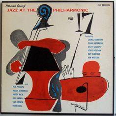 Jazz at the Philharmonic, Vol 17, label: Clef MGC vol17 (1955). Art design by David Stone Martin.