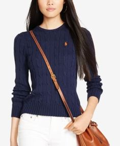 Polo Ralph Lauren Cable-Knit Cotton Sweater - Navy S Preppy Fall Fashion, Knit Sweater Outfit, Cable Knit Jumper, Knit Sweaters, Ralph Lauren Blazer, Discount Womens Clothing, Cotton Jumper, Clothing Sites, Clothes For Women