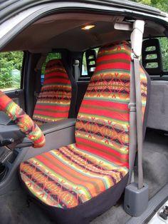 1 Set of Orange Aztec Print  Car Seat Covers and Steering Wheel Cover Custom Made.
