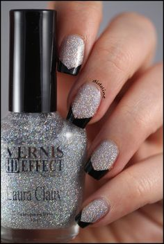 Art deco silver & black French mani (by Didoline's Nails) using Laura Clauvi nail glitter (3 coats)