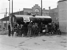 Corryville, Cincinnati, Ohio, 1937 flood, photo by Betty T. Ross: Water station, 2800 block of Vine Street.