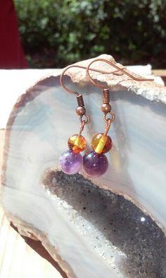 Boucles d oreilles amethyste et ambre