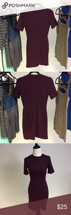 Topshop Maroon Dress New without tags! Body con. Has a cute flap on the skirt part - petite Topshop PETITE Dresses Mini