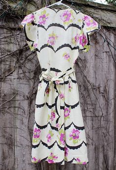 Vintage Cream Dress with Scalloped and Floral by starleewhite, $23.00