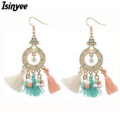 ISINYEE Fashion Silk Rope Wooden Beaded Tassel Earrings For Women Handmade Bohemian Ethnic Earring Gold Bohe Statement Jewelry  #Affiliate